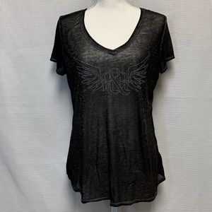 Rock & Republic Sheer Embellished T-shirt Size L